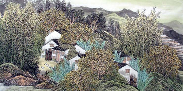 Chinese Village Countryside Painting,68cm x 136cm,1016041-x