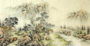 Chinese Village Countryside Painting,69cm x 138cm,1017002-x