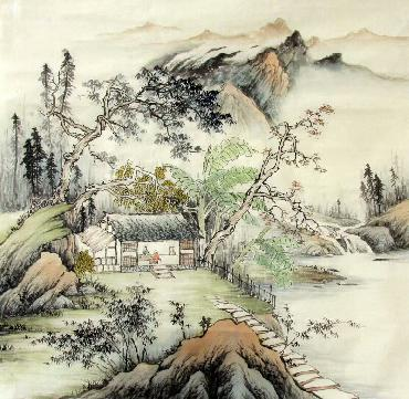 Chinese Village Countryside Painting,68cm x 68cm,1017011-x