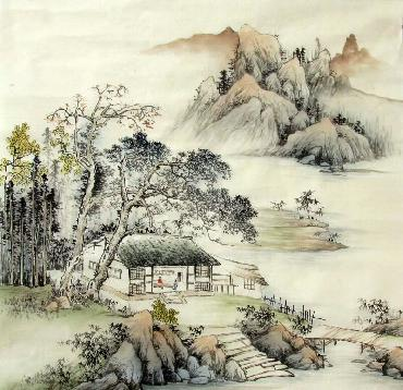 Chinese Village Countryside Painting,68cm x 68cm,1017015-x