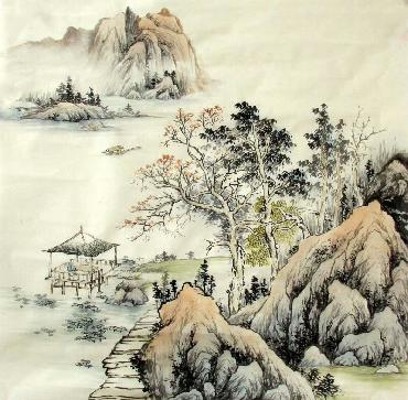 Chinese Village Countryside Painting,68cm x 68cm,1017016-x