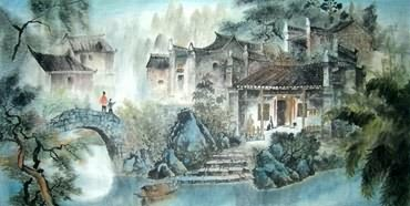Chinese Village Countryside Painting,66cm x 136cm,1045011-x