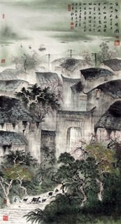 Chinese Village Countryside Painting,97cm x 180cm,1057012-x