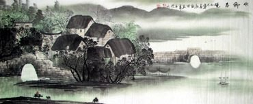 Chinese Village Countryside Painting,50cm x 130cm,1057013-x