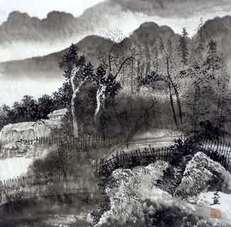 Chinese Village Countryside Painting,50cm x 50cm,1057014-x
