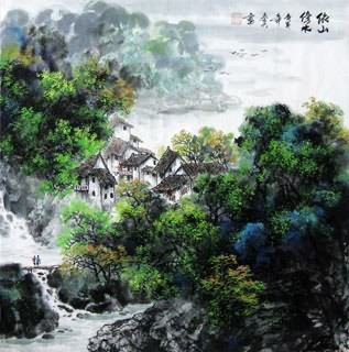 Chinese Village Countryside Painting,69cm x 69cm,1061027-x