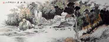 Chinese Village Countryside Painting,70cm x 180cm,1100004-x