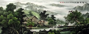 Chinese Village Countryside Painting,70cm x 180cm,1135027-x