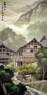 Chinese Village Countryside Painting,66cm x 136cm,1135028-x