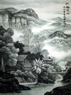Chinese Village Countryside Painting,96cm x 132cm,1135029-x