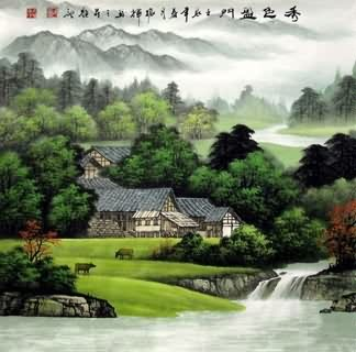 Chinese Village Countryside Painting,69cm x 69cm,1135030-x