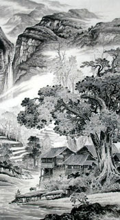 Chinese Village Countryside Painting,97cm x 180cm,1135050-x