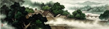 Chinese Village Countryside Painting,46cm x 180cm,1135102-x