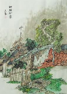 Chinese Village Countryside Painting,43cm x 65cm,1183001-x