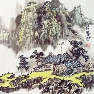 Chinese Village Countryside Painting,33cm x 33cm,1183005-x