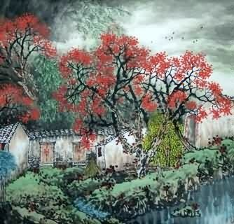 Chinese Village Countryside Painting,97cm x 90cm,1185002-x
