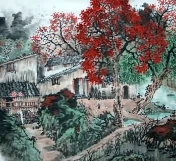 Chinese Village Countryside Painting,97cm x 90cm,1185003-x