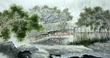 Chinese Village Countryside Painting,97cm x 180cm,1185004-x