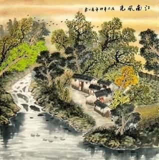 Chinese Village Countryside Painting,69cm x 69cm,1186001-x