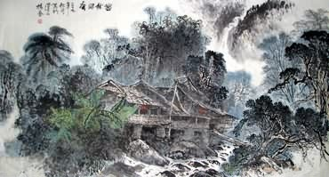 Chinese Village Countryside Painting,97cm x 180cm,1188001-x