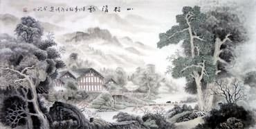 Chinese Village Countryside Painting,69cm x 138cm,1189001-x