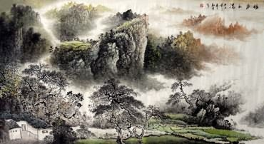 Chinese Village Countryside Painting,97cm x 180cm,1191001-x