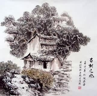 Chinese Village Countryside Painting,69cm x 69cm,1193002-x