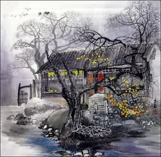 Chinese Village Countryside Painting,69cm x 69cm,1475004-x