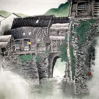 Chinese Village Countryside Painting,69cm x 69cm,1475005-x