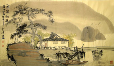 Chinese Village Countryside Painting,50cm x 80cm,1579001-x