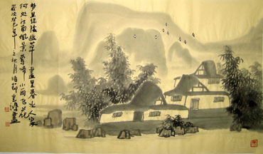 Chinese Village Countryside Painting,50cm x 80cm,1579004-x