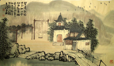 Chinese Village Countryside Painting,50cm x 80cm,1579005-x