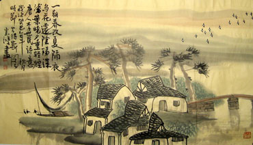 Chinese Village Countryside Painting,50cm x 80cm,1579010-x