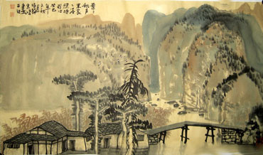 Chinese Village Countryside Painting,50cm x 80cm,1579015-x