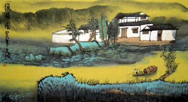 Chinese Village Countryside Painting,50cm x 80cm,1579030-x