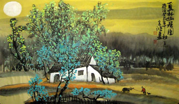 Chinese Village Countryside Painting,50cm x 80cm,1579044-x