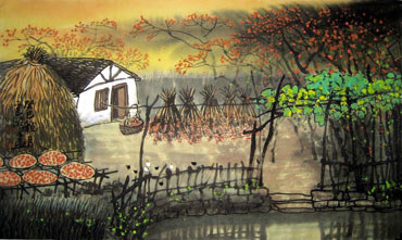 Chinese Village Countryside Painting,50cm x 80cm,1579048-x
