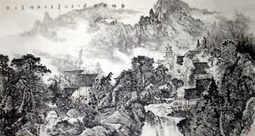 Chinese Village Countryside Painting,97cm x 180cm,1684002-x