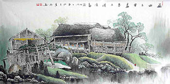 Chinese Village Countryside Painting,69cm x 138cm,gj11098004-x
