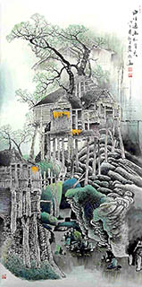 Chinese Village Countryside Painting,69cm x 138cm,gj11098005-x