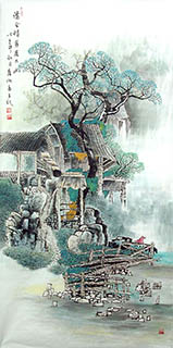Chinese Village Countryside Painting,69cm x 138cm,gj11098006-x