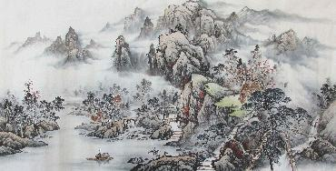 Chinese Village Countryside Painting,69cm x 138cm,wym11088001-x