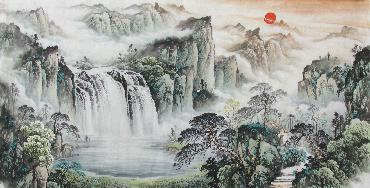 Chinese Village Countryside Painting,69cm x 138cm,wym11088002-x
