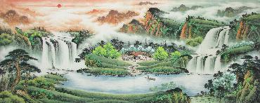 Chinese Village Countryside Painting,70cm x 180cm,wym11088004-x