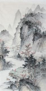 Chinese Village Countryside Painting,69cm x 138cm,wym11088005-x