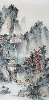 Chinese Village Countryside Painting,69cm x 138cm,wym11088006-x