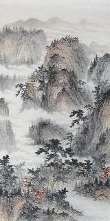 Chinese Village Countryside Painting,69cm x 138cm,wym11088007-x