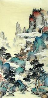 Chinese Village Countryside Painting,69cm x 138cm,wym11088010-x