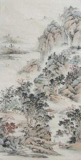 Chinese Village Countryside Painting,69cm x 138cm,wym11088014-x