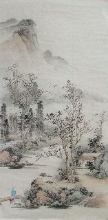Chinese Village Countryside Painting,69cm x 138cm,wym11088015-x